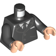 Lego Black Torso Suit with 2 Buttons Pockets Black Tie 6149670 White Shirt