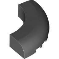 LEGO part 24599 Brick Round Corner 5 x 5 x 1 with Bottom Cut Outs [No Studs] [1/4 Arch] in Dark Stone Grey / Dark Bluish Gray
