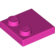 LEGO part 33909 Tile Special 2 x 2 with Only 2 studs in Bright Purple/ Dark Pink