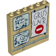 LEGO part 59349pr0007 Panel 1 x 6 x 5 with Security Monitors, 'GRU'S LAIR' Poster Print in Brick Yellow/ Tan