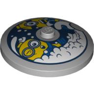 LEGO part 3960pr0047 Dish 4 x 4 Inverted [Radar] with Minions in Wahsing Machine Print in Medium Stone Grey/ Light Bluish Gray