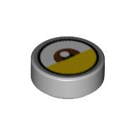 LEGO part 98138pr9991 Tile Round 1 x 1 with Reddish Brown Eye Center, Yellow Eyelid (White Dot Away from Eyelid) print in Medium Stone Grey/ Light Bluish Gray