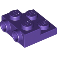 LEGO part 99206 Plate Special 2 x 2 x 0.667 with Two Studs On Side and Two Raised in Medium Lilac/ Dark Purple