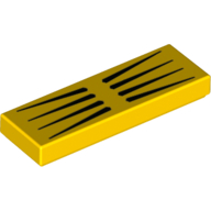 LEGO part 63864pr0031 Tile 1 x 3 with 8 Black Stripes print in Bright Yellow/ Yellow