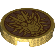 LEGO part 14769pr1155 Tile Round 2 x 2 with Dragon Head print in Warm Gold/ Pearl Gold