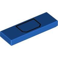 LEGO part 63864pr0030 Tile 1 x 3 with Black Pocket print in Bright Blue/ Blue