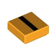 LEGO part 3070bpr9976 Tile 1 x 1 with Black Line print in Flame Yellowish Orange/ Bright Light Orange