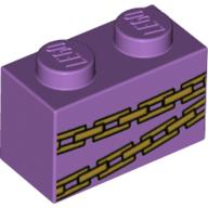 LEGO part 3004pr0053 Brick 1 x 2 with Gold Chains print in Medium Lavender