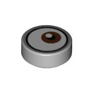 LEGO part 98138pr9993 Tile Round 1 x 1 with Reddish Brown Eye Looking Left (White Dot on Top) Print in Medium Stone Grey/ Light Bluish Gray