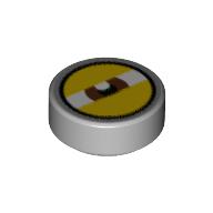 LEGO part 98138pr9992 Tile Round 1 x 1 with Reddish Brown Eye Squinting print in Medium Stone Grey/ Light Bluish Gray