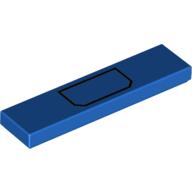 LEGO part 2431pr0151 Tile 1 x 4 with Black Pocket print in Bright Blue/ Blue