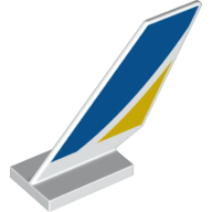 LEGO part 6239pr0014 Tail Shuttle with Blue and Yellow Print in White