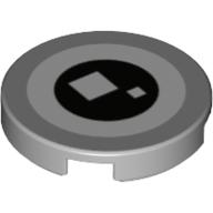 LEGO part 14769pr1154 Tile Round 2 x 2 with White and Black Circle, 2 White Squares (Brickheadz Eye) print in Medium Stone Grey/ Light Bluish Gray