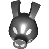LEGO part upn0091pr0002 Minifig Head Special, Spider Ham with White Eyes, White Teeth/Fangs print in Black