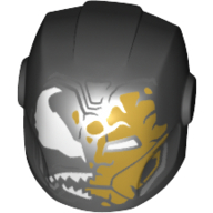 LEGO part 29050pr0343 Minifig Helmet with Armor Plates and Ear Protectors with White Eyes, Sharp Teeth, Partly Iron Man Mask (Venom) in Black
