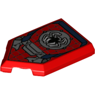 LEGO part 22385pr999x Tile Special 2 x 3 Pentagonal with Spider-Man Logo Print in Bright Red/ Red