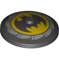 LEGO part 3960pr0048 Dish 2 x 2 Inverted [Radar] with Batman Logo print in Black