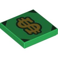 LEGO part 3068bpr0505 Tile 2 x 2 with Dollar Sign, Black Corners print in Dark Green/ Green