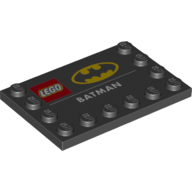 LEGO part 6180pr0020 Tile Special 4 x 6 with Studs on Edges with 'LEGO BATMAN' and Batman Logo Print in Black
