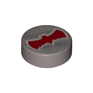 LEGO part 98138pr9988 Tile Round 1 x 1 with Red Bat on Silver Background Print in Silver Metallic/ Flat Silver