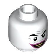 LEGO part 3626cpr3446 Minifig Head Joker, Gray Wrinkles and Moustache, Dark Pink Lips, Wide Grin / Sad Print in White
