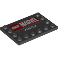 LEGO part 6180pr0019 Tile Special 4 x 6 with Studs on Edges with 'LEGO MARVEL VENOM' print in Black