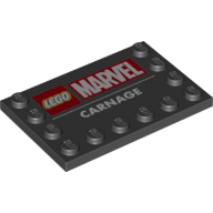 LEGO part 6180pr0018 Tile Special 4 x 6 with Studs on Edges and 'LEGO MARVEL CARNAGE' Print in Black