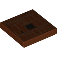 LEGO part 3068bpr0488 Tile 2 x 2 with Tan Lines, Black Square (Sand Crawler Side) print in Reddish Brown