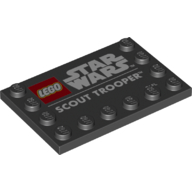 LEGO part 6180pr0021 Tile Special 4 x 6 with Studs on Edges with 'LEGO STAR WARS SCOUT TROOPER' Print in Black