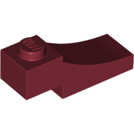LEGO part 70681 Brick Curved 3 x 1 with 2/3 Inverted Cutout in Dark Red