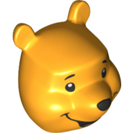 LEGO part 77313pr0001 Minifig Head Special Winnie the Pooh in Flame Yellowish Orange/ Bright Light Orange