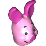 LEGO part 77316pr0001 Minifig Head Special, Piglet in Light Purple/ Bright Pink