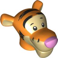 LEGO part 77317pr0001 Minifig Head Special, Tiger in Bright Orange/ Orange