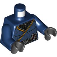 LEGO part 973c05h03pr5521 Torso Robe with Orange Trim, Belt with Buckle Print, Dark Blue Arms, Black Hands in Earth Blue/ Dark Blue
