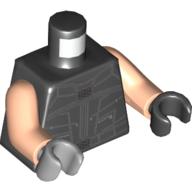 LEGO part 973f029pr5519 Torso, Odd Hands, Vest with Silver Lines Print, Light Flesh Arms, Left Black Hand, Right Light Bluish Gray Hand in Black