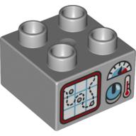 LEGO part 77961 BRICK 2X2, NO. 157 in Medium Stone Grey/ Light Bluish Gray