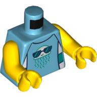 LEGO part 973c01h01pr5540 Torso Jelly Fish Wearing Sunglasses, Dark Blue Trim print, Yellow Arms and Hands in Medium Azure