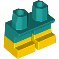 LEGO part 16709pat0005 Legs Short with Dark Turquoise Hips Pattern [Multi Color Injection] in Bright Yellow/ Yellow