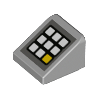 LEGO part 54200pr0004 Slope 30° 1 x 1 x 2/3 (Cheese Slope) with Keypad, 8 White Buttons, 1 White print in Medium Stone Grey/ Light Bluish Gray