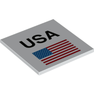 LEGO part 10202pr0013 Tile 6 x 6 with Bottom Tubes with 'USA', American Flag print in White
