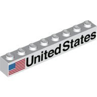 LEGO part 3008pr0043 Brick 1 x 8 with American Flag, 'UNITED STATES' print in White