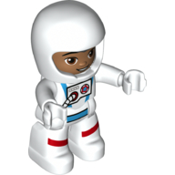 LEGO part 23973pr0132 Duplo Figure with Helmet White, Astronaut Suit White, Dark Flesh Face print in White