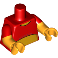 LEGO part 973g22c38h38pr5568 Torso, Dual Molded Arms, Red Shirt, Red Sleeves Pattern, Bright Orange Arms, Hands in Bright Red/ Red