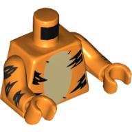 LEGO part 973c34h34pr5569 Torso Tiger Stripes, Tan Belly, Orange Arms and Hands in Bright Orange/ Orange
