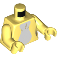 LEGO part 973c44h44pr5571 Torso White Fur, Bright Light Yellow Arms and Hands in Cool Yellow/ Bright Light Yellow