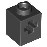 LEGO part 73230 Brick 1 x 1 with Axle Hole in Black