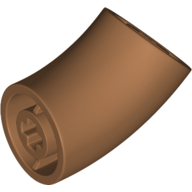 LEGO part 65473 Brick Round 1 x 1 diameter Tube with 45 Degree Elbow(2 x 2 x 1) and Axle Holes(Crossholes) at each end in Medium Nougat