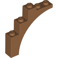 LEGO part 14395 Brick Arch 1 x 5 x 4 [Continuous Bow, Raised Underside Cross Supports] in Medium Nougat