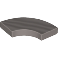 LEGO part 27925 Tile 2 x 2 Curved, Macaroni in Cool Silver Drum Lacquered/ Metallic Silver