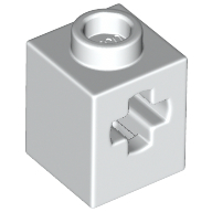 LEGO part 73230 Brick 1 x 1 with Axle Hole in White
